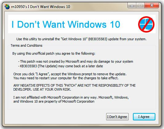 удалить windows 10